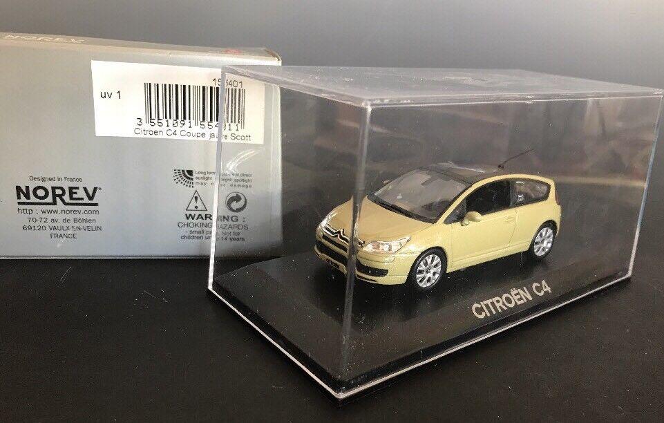 Norev Citroen C4 C4 C4 COUPE amarillo Scott coche  155401 escala 1 43 Coleccionable Con Caja Orig. 7b44de
