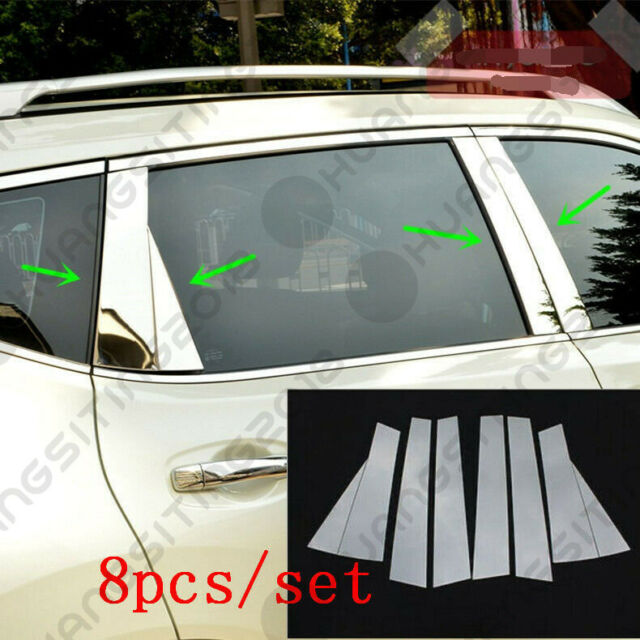 6Pcs Stainless Steel Window Pillar Posts trim for Nissan Rogue X-Trail 2014 2015