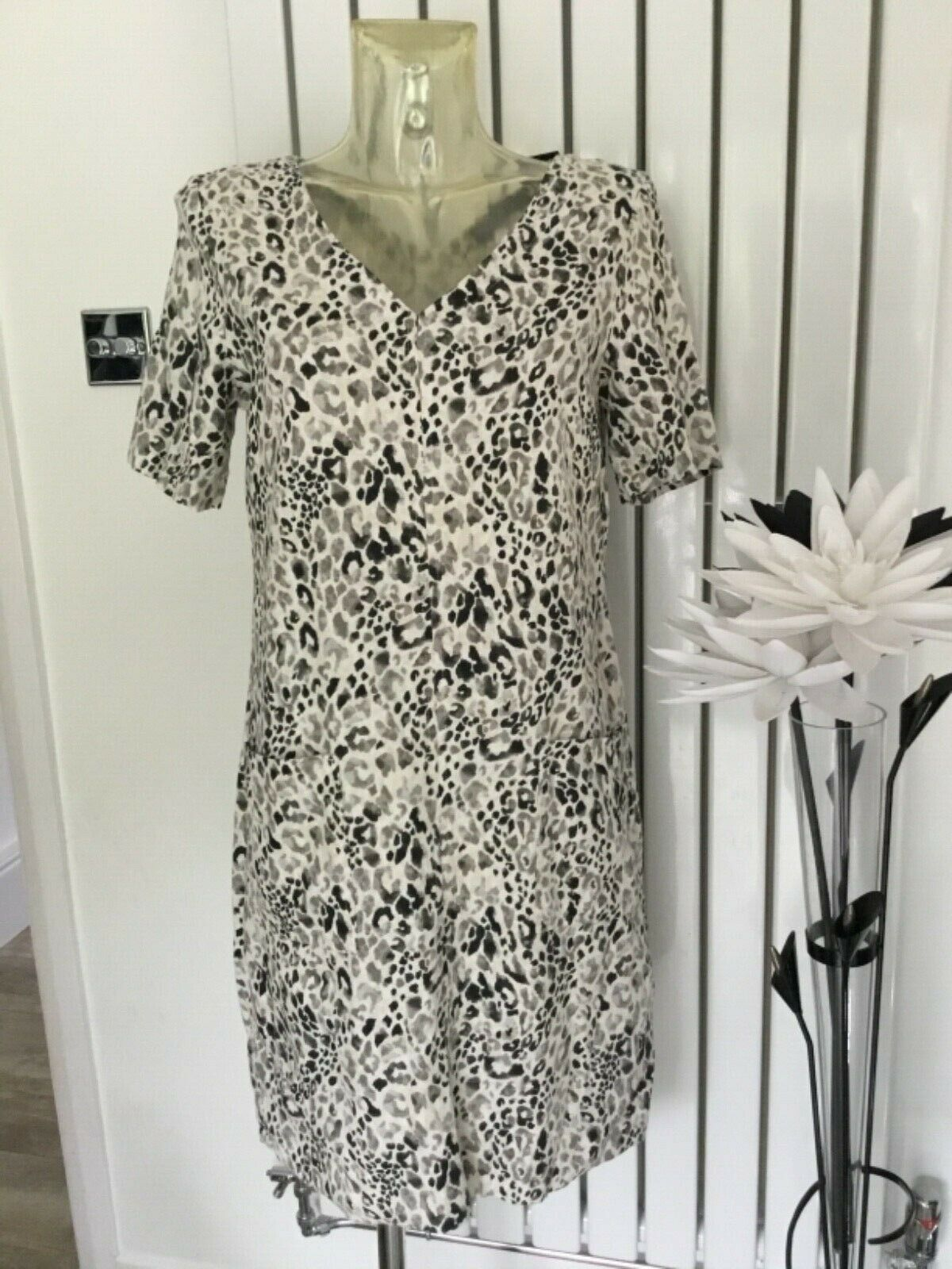Marks & Spencer M&S Linen Rich Printed Shift Dress Natural Mix Size 10 BNWT