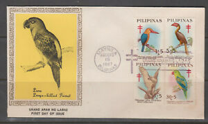Phlippine-Stamps-1967-Philippine-Birds-on-First-Day-Cover-Complete-set
