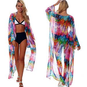 4decb00315 Image is loading Womens-Summer-Fancy-Bikini-Cover-Up-Beachwear-Swimwear-