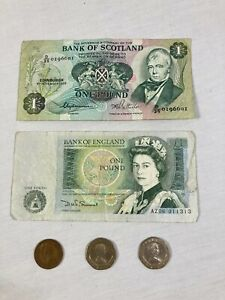 Lot of 2 Banknotes + 3 coins: Bank of Scotland 1980, Bank of England One Pound