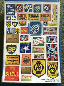 Details about Becc Vintage Garage Signs 1:24 - 1:30 - Vinyl Decals Diromas  and Railway Modell