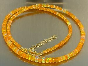 Athiopischer-orange-Opal-Kette-Collier-925-Silber-vergoldet-ca-35-Carat