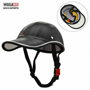 Cycling-Helmet-Leather-Visor-Motorcycle-Safety-Hard-Hat-Helmets-Protective-Adult