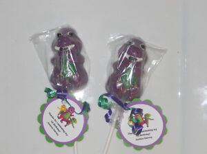12 Barney 2nd Birthday Party Favors Gourmet chocolate Lollipops