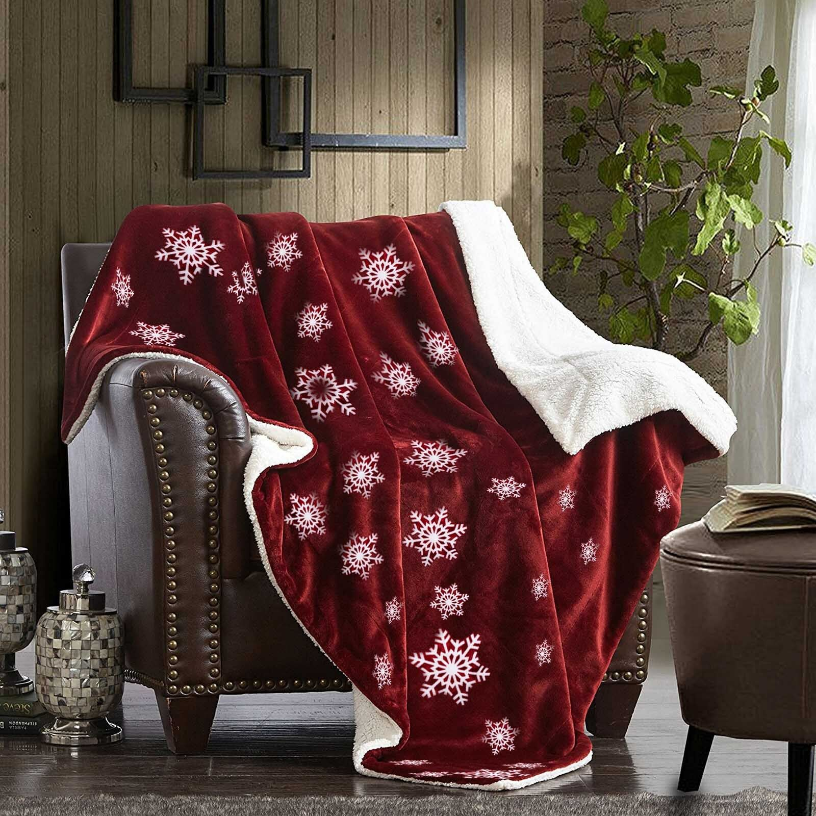 Christmas Blanket Decoration Snowflake Throw Blanket Red and White 59 x79
