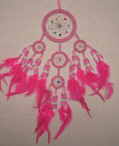 9 cm x 35 cm Pink Dreamcatcher Traumfänger Kinder Träume Geburtstag Perlen