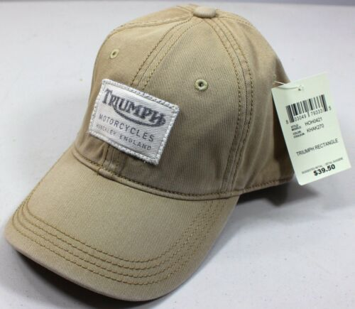 lucky brand triumph motorcycle rectangle patch khaki baseball hat cap adjust stag heritage