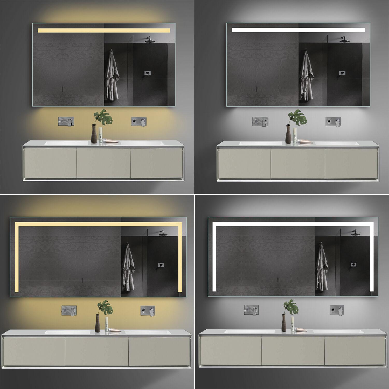 Badspiegel Badezimmerspiegel LED Licht Warmweiß Kaltweiß  Steckdose 60-180cm TSL
