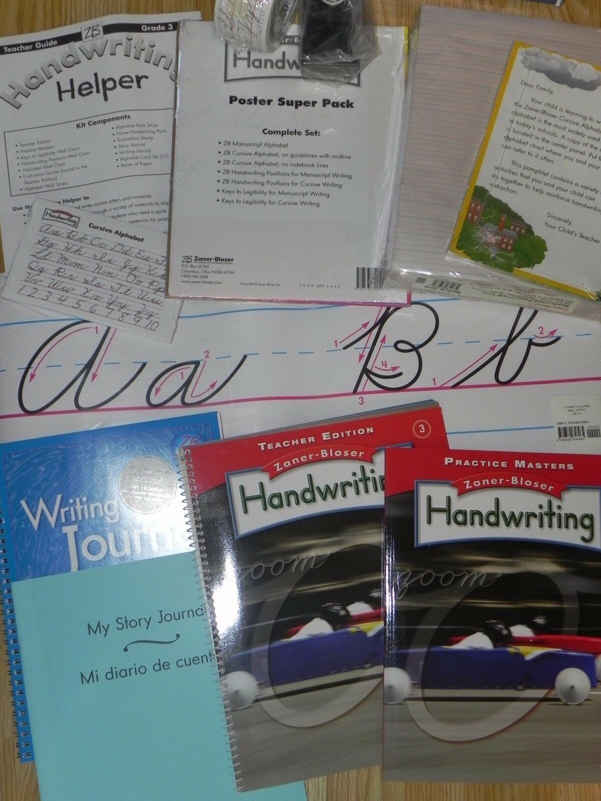 Zaner Bloser Handwriting 3rd Grade 3 Student Teacher Kit Poster Cards Paper 2012