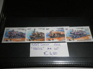 FRANCOBOLLI-TURKS-CAICOS-1991-034-TRENI-FERROVIE-TRAINS-034-NUOVI-MNH-LOT-CAT-2