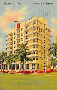 MIAMI-BEACH-FLORIDA-RENDALE-HOTEL-COLLINS-AT-32nd-1940-PSTMK-POSTCARD