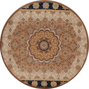 Hand Tufted Floral Brown Round 8x8 Kaashaan Persian Style