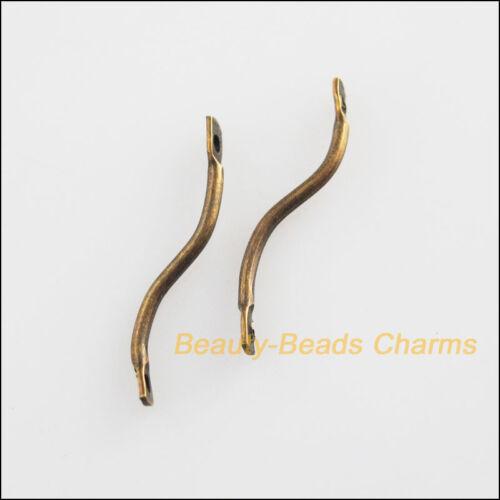 100Pcs Antiqued Bronze Plated S Shape Link Charms Pendants Connectors 20mm
