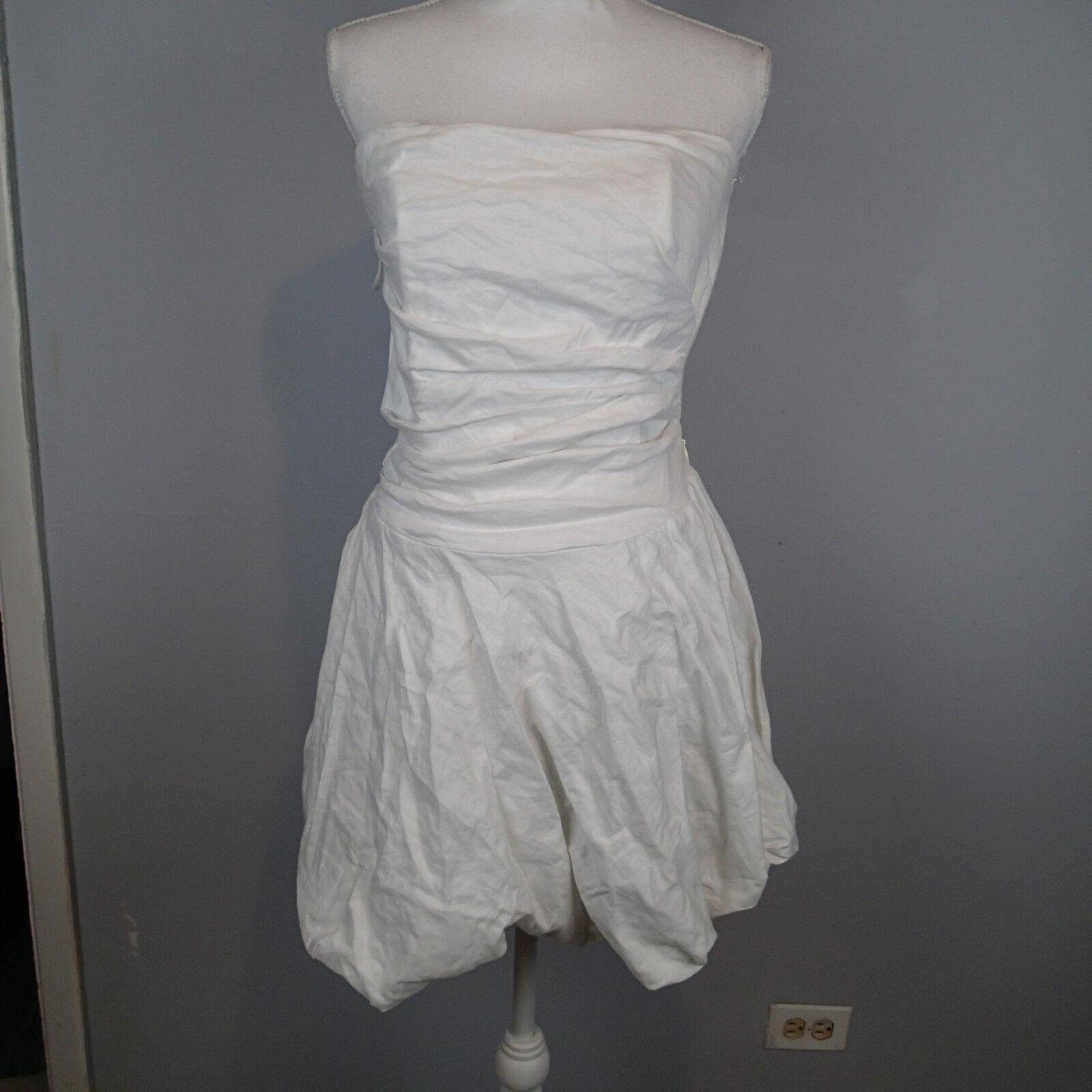 NICOLE MILLER Weiß Strapless sz 10 Crinkle Bubble Mini Dress   r9