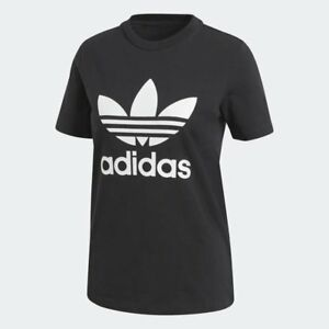 Women-039-s-Adidas-Originals-Trefoil-T-Shirt-Black-White-z-CV9888