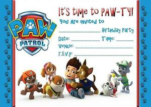 paw patrol birthday kids party invitations invites with or without