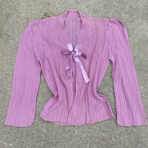 Vintage 1930s 1940s Pink Knit Sweater Cardigan Rib