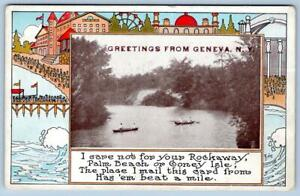 Details About Greetings From Geneva Nyrockaway Coney Island Isle Palm Beach Poempostcard