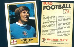 Colin-Bell-MANCHESTER-CITY-EURO-FOOTBALL-039-76-ed-PANINI-ORIGINALE-n-75-NUOVO