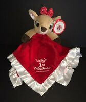 Rudolf Faline Baby's First Christmas Girl Reindeer Security Blanket Red Bow