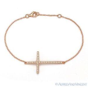 Gold Tone Sideways Cross Rolo Link Chain Bracelet Clear CZ
