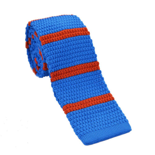 Cn /_ Hommes \/' S Mode Rayures Impression Maille Cravate Tricot Étroit Fin Tiss