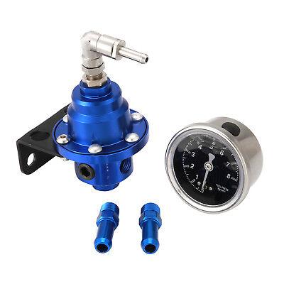 BLUE ALUMINUM 160 PSI ADJUSTABLE 1:1 FUEL PRESSURE REGULATOR /& kPa OIL GAUGE KIT