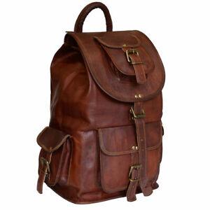 """20/"""" Genuine Men/'s Rustic Leather Backpack Bag Satchel Briefcase Laptop Vintage"""