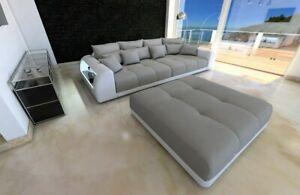 Details Zu Big Sofa Miami Polster Couch Mega Sofa Optionaler Hocker Led Beleuchtung Grau