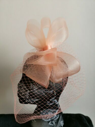 peach coral crin fascinator headband headpiece wedding party piece veil ascot