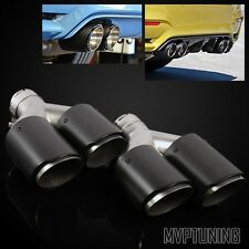 "2PC AK Style Carbon Fiber 2.5"" (63mm) Inlet/3.5"" Dual Outlet Y-Pipe Exhaust Tip"