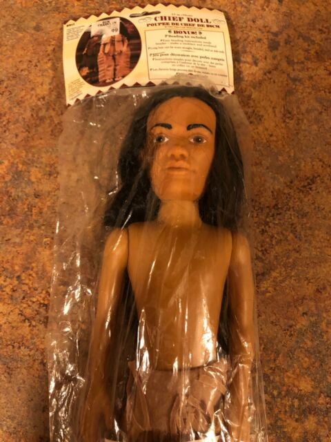 """FIBRE CRAFT 15/"""" CHIEF DOLL WITH BONUS  BEADING KIT INCLUDED 1995"""