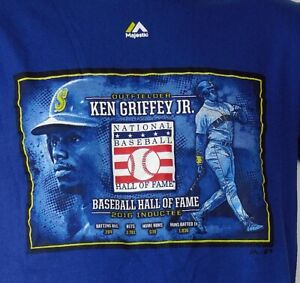 detailed look 54562 3729d Details about Majestic Ken Griffey Jr. Baseball Hall Of Fame 2016 Inductee  Blue S/S T-Shirt S
