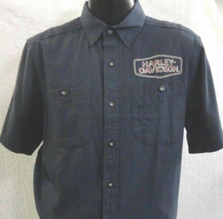 Harley Davidson Men's Herringbone Stripe Short Sleeve Shirt