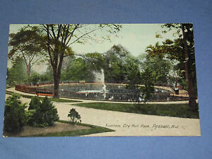 VINTAGE EARLY 1900S FOUNTAIN CITY HALL PARK PASSAIC   NEW JERSEY  POSTCARD