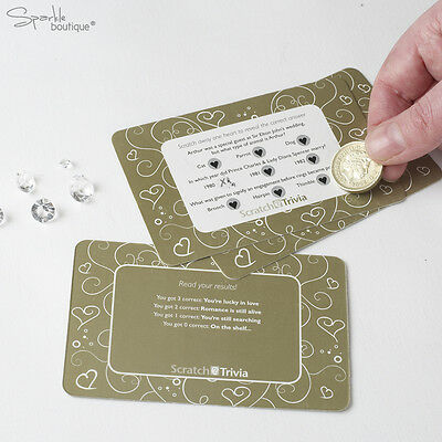 Scratch Card Trivia x10 - Wedding Table Icebreaker Game / Favours / Decoration