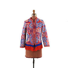 Vintage 60s Thick Cotton Mod Red + Bluie Op Art Fringe Hippie Coat Jacket M L