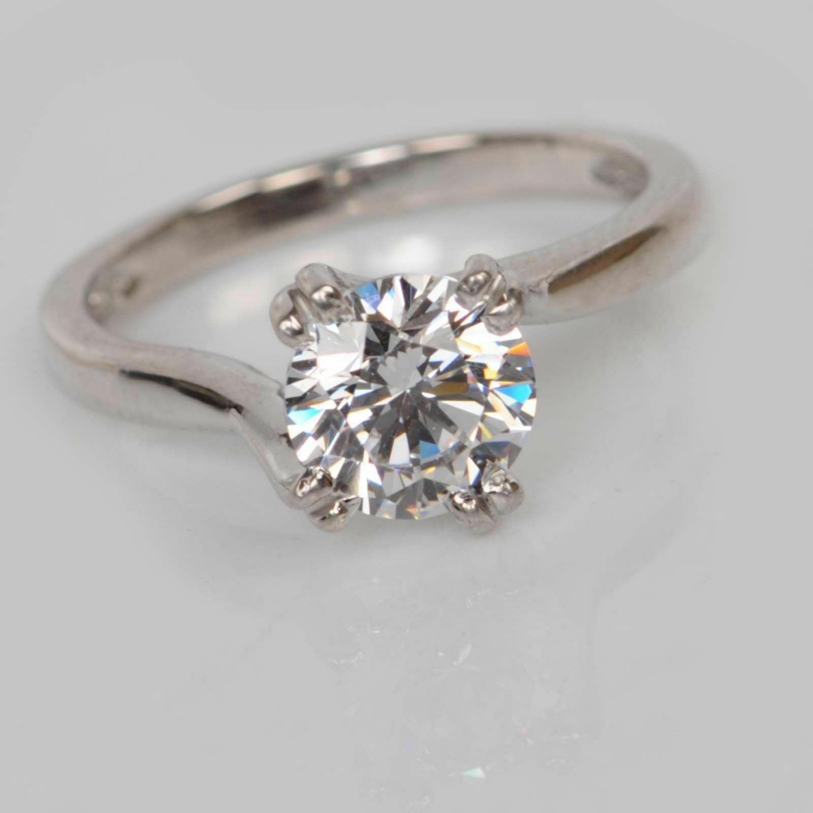 2 Ct Bridal Moissanite Engagement Ring Round Cut Real 14K White gold Size 6 9 HJ