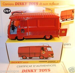 dinky toys atlas camion fourgon peugeot j7 pompiers paris ref 570 p in box ebay. Black Bedroom Furniture Sets. Home Design Ideas