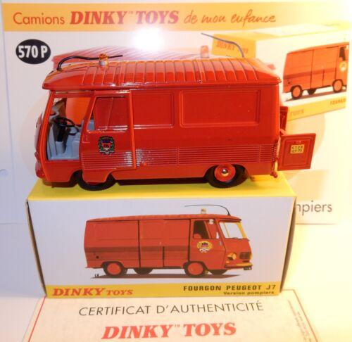 DINKY TOYS ATLAS CAMION FOURGON PEUGEOT J7 POMPIERS PARIS REF 570 P IN BOX