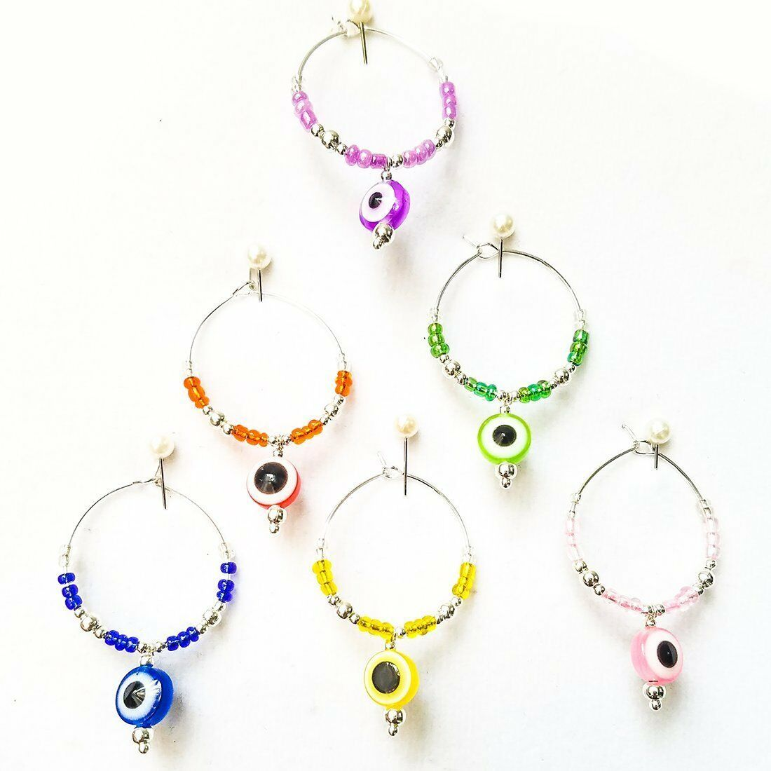 Set of 6 Evil Eye Wine Glass Charms Lucky Inspiration Silver Plater ...