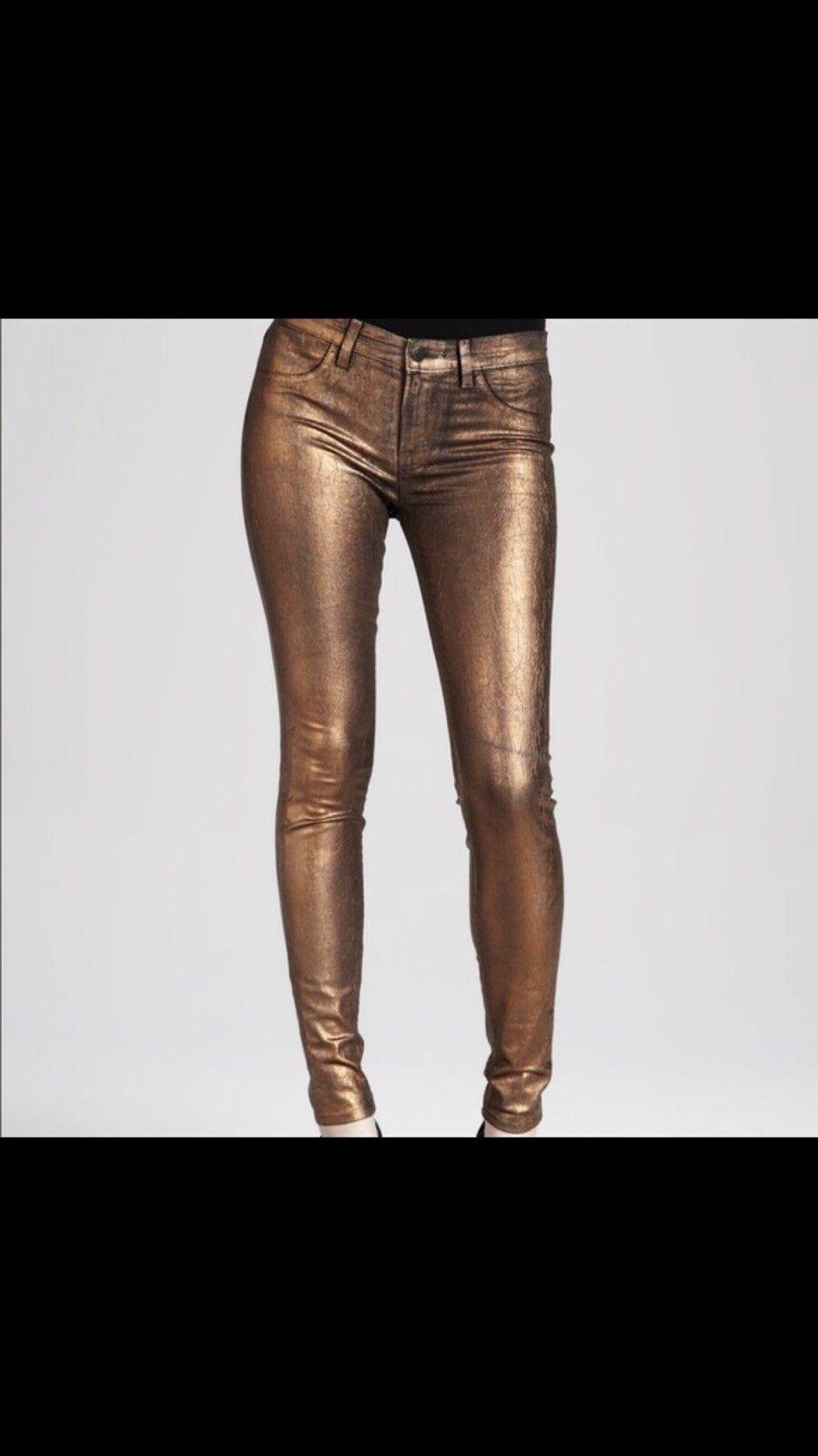 7 For All Mankind  Skinny Leg Women's Jeans Size 27  Metallic Copper