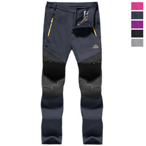 Women Waterproof Ski Snow Pants Winter Thermal Fleece Lined Softshell Warm Pants