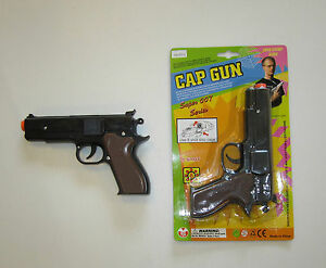 1-NEW-BLACK-TOY-CAP-GUN-7-034-POLICE-PISTOL-SUPER-007-REVOLVER-FIRES-8-RING-CAPS