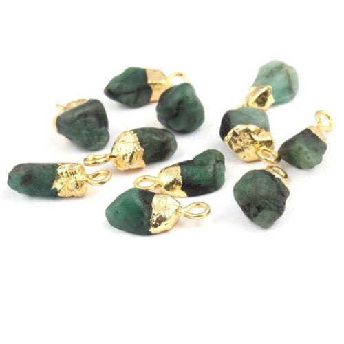 Mini todas piedras de nacimiento Piedra Natural Rugosa Chapado en Oro Conectores Raw pequeño encantos