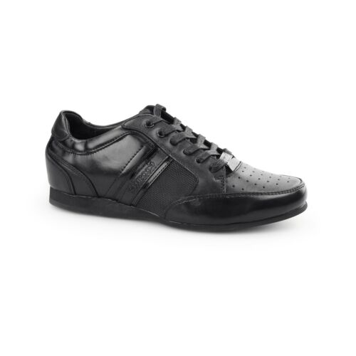 BambooA FELLINI Boys Junior Leather School Comfort Lace Up Trainers Shoes Black