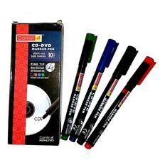 4 X Cd Dvd Permanent Marker Pens Fine Tip 4 Colours Black Blue Red Green