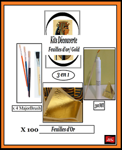 Discovery Kits Gold Leaf paper sheets 100 Feuilles d'or Complet